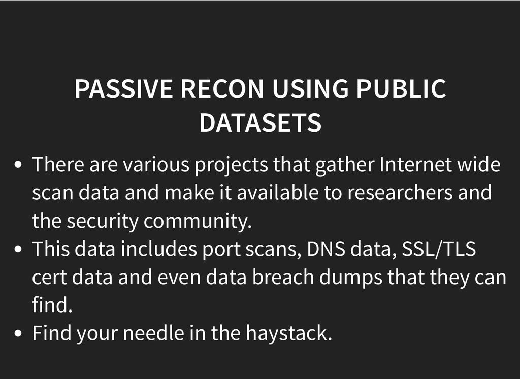 PASSIVE RECON USING PUBLIC PASSIVE RECON USING ...