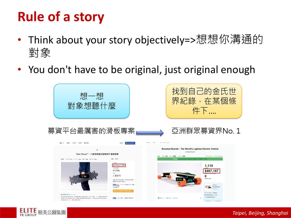 Taipei, Beijing, Shanghai Rule of a story • Thi...