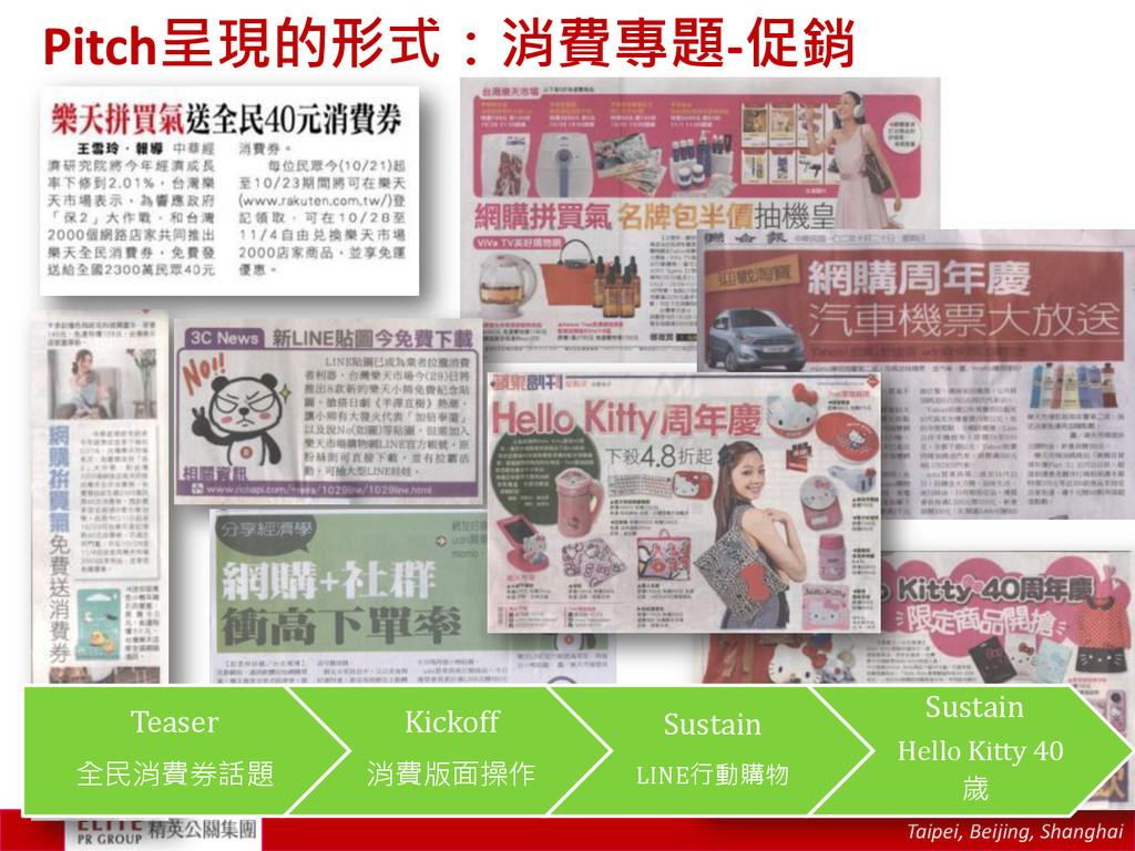 Taipei, Beijing, Shanghai Pitch呈現的形式:消費專題-促銷 Te...