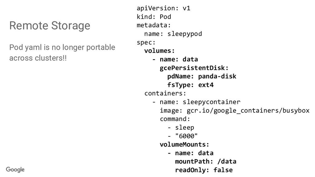 Remote Storage Pod yaml is no longer portable a...