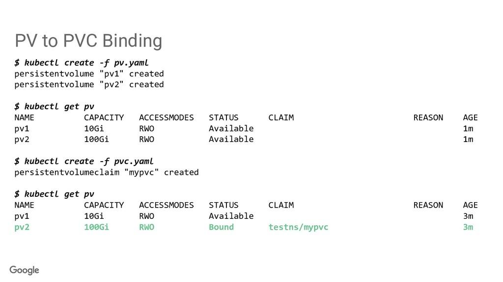 PV to PVC Binding $ kubectl create -f pv.yaml p...