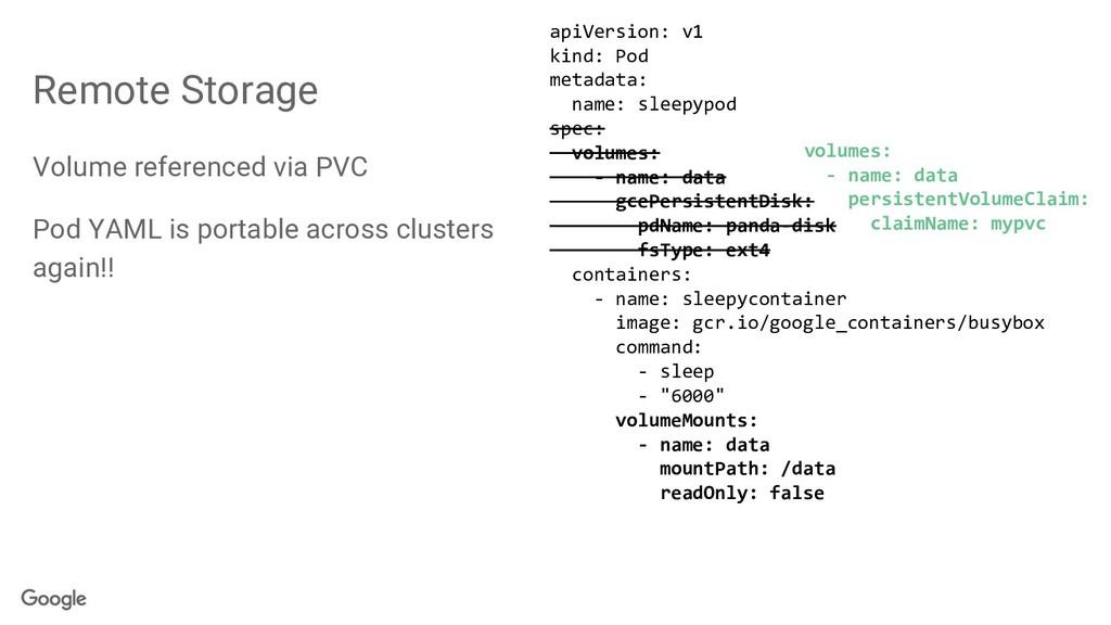 Remote Storage Volume referenced via PVC Pod YA...