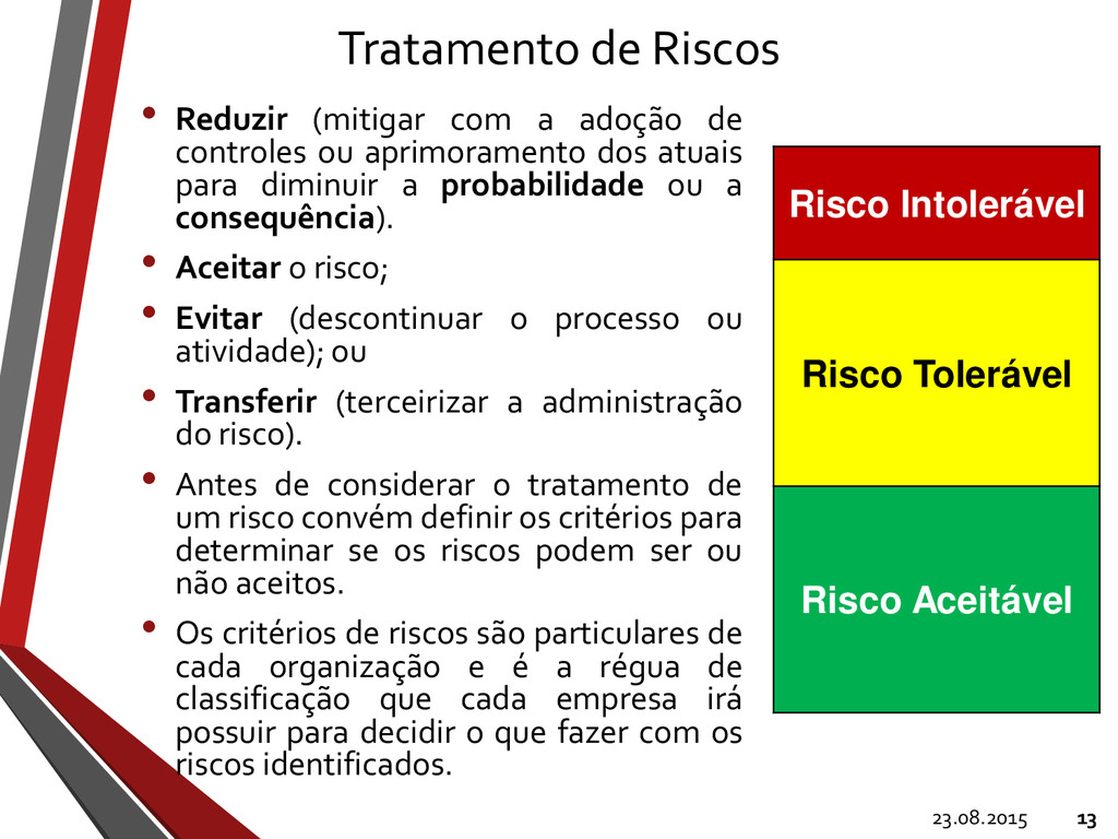 Tratamento de Riscos • Reduzir (mitigar com a a...