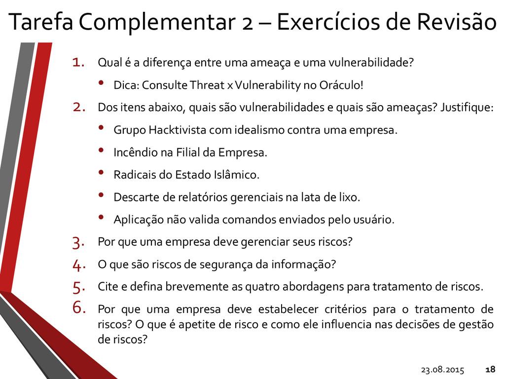 Tarefa Complementar 2 – Exercícios de Revisão 1...
