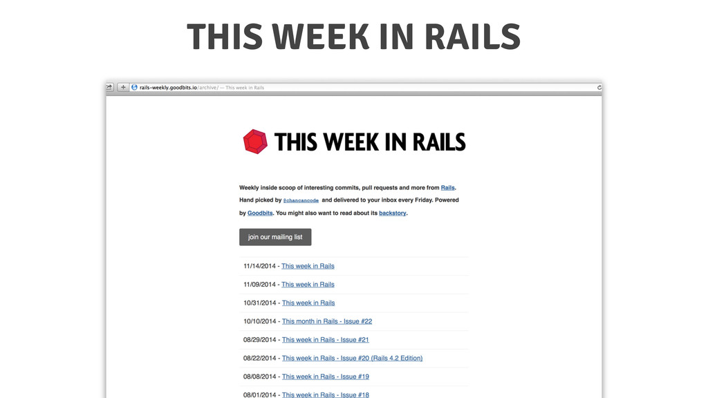 THIS WEEK IN RAILS