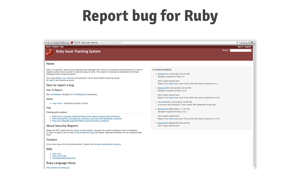 Report bug for Ruby