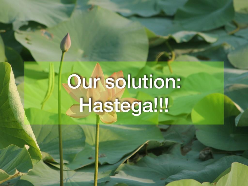 Our solution: Hastega!!!
