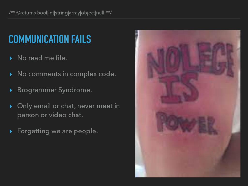 COMMUNICATION FAILS ▸ No read me file. ▸ No comm...
