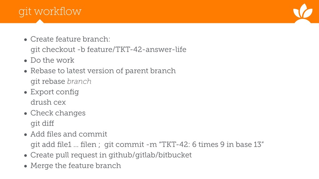 git workflow • Create feature branch: git check...