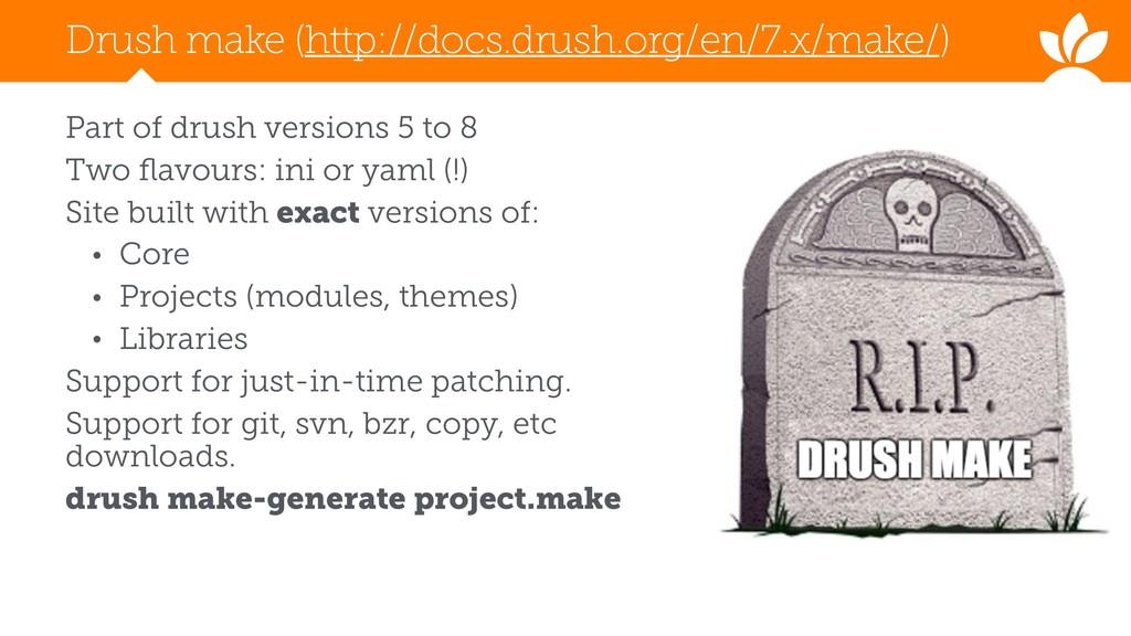 Drush make (http://docs.drush.org/en/7.x/make/)...
