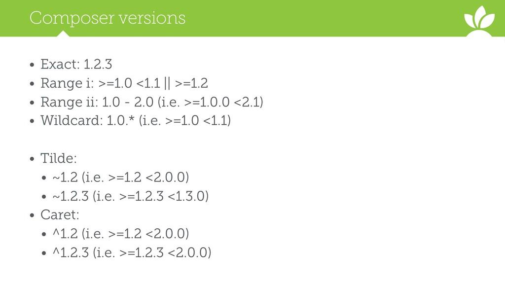 Composer versions • Exact: 1.2.3 • Range i: >=1...