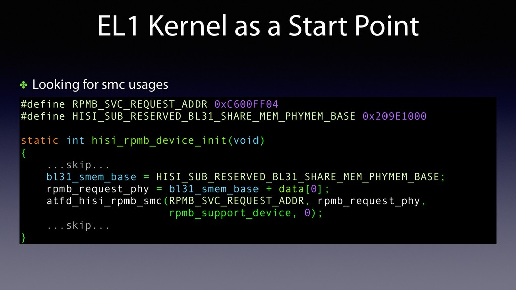 ✤ Looking for smc usages EL1 Kernel as a Start ...