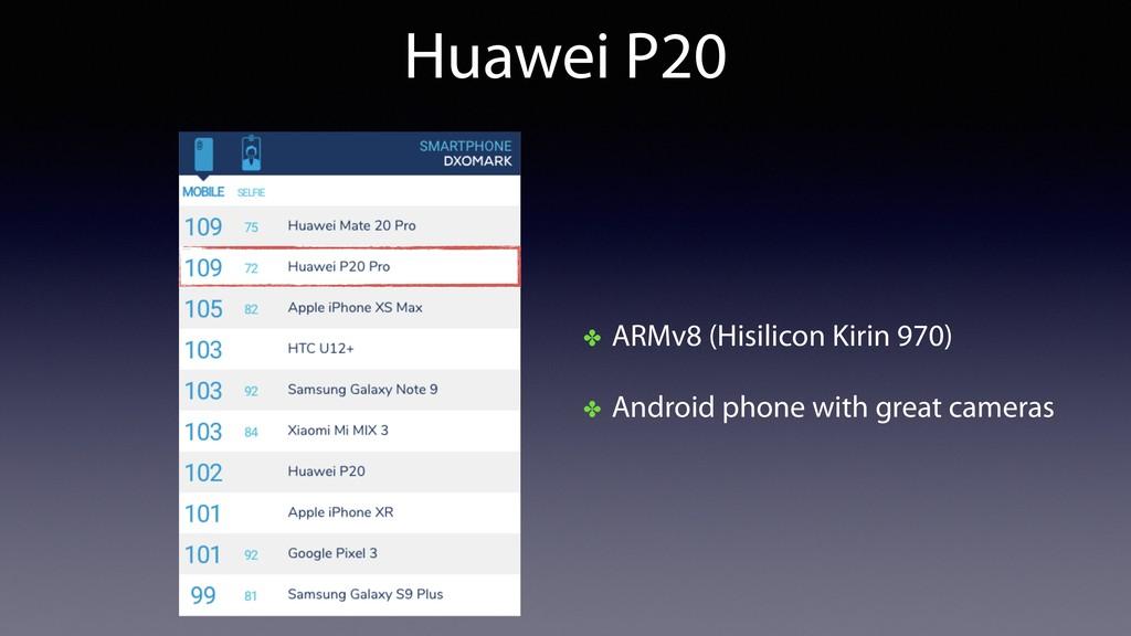 Huawei P20 ✤ ARMv8 (Hisilicon Kirin 970) ✤ Andr...