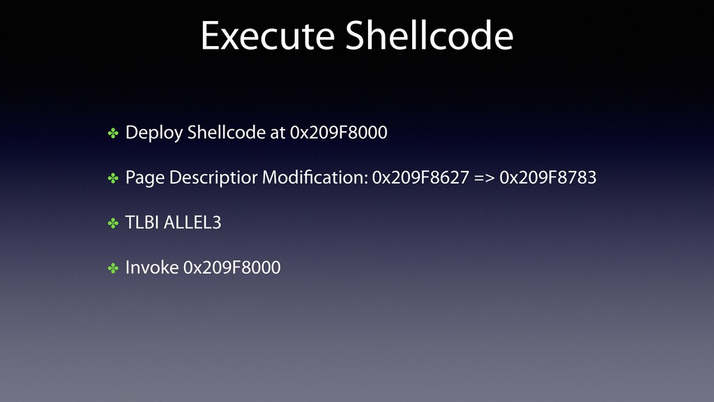 Execute Shellcode ✤ Deploy Shellcode at 0x209F8...