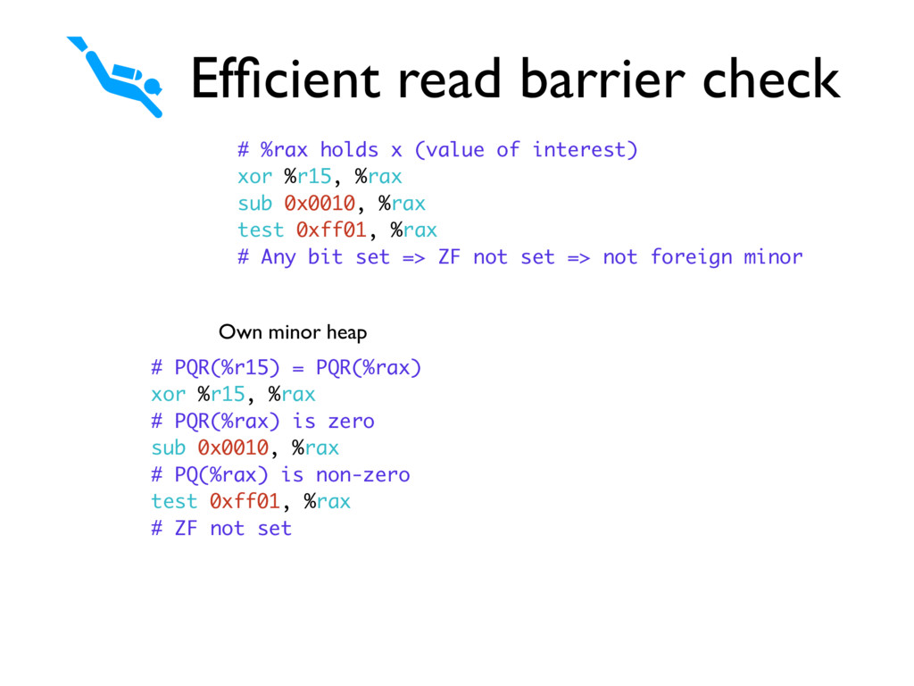 Efficient read barrier check # %rax holds x (val...
