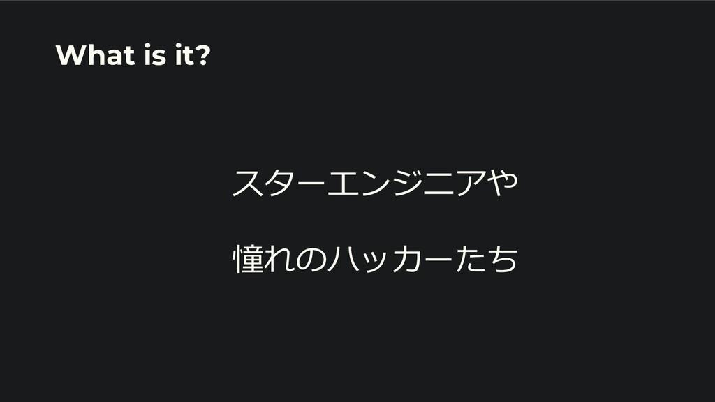 スターエンジニアや 憧れのハッカーたち What is it?