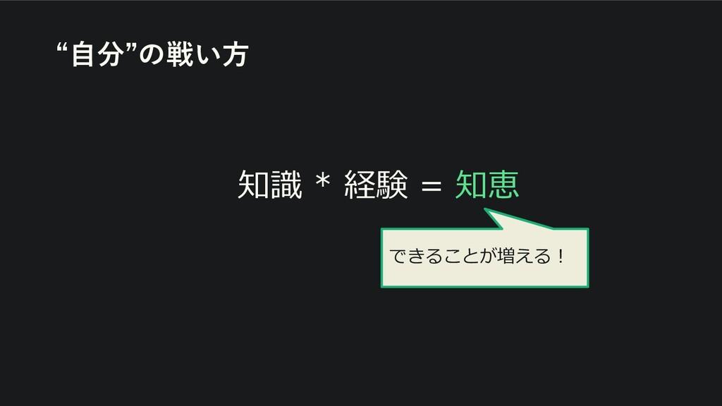 """知識 * 経験 = 知恵 """"自分""""の戦い方 できることが増える!"""