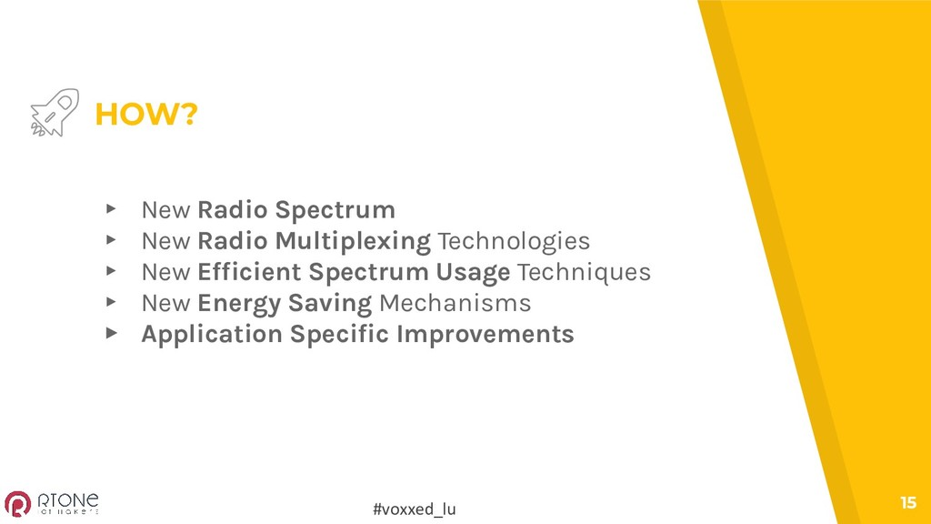 #voxxed_lu 15 HOW? ▸ New Radio Spectrum ▸ New R...
