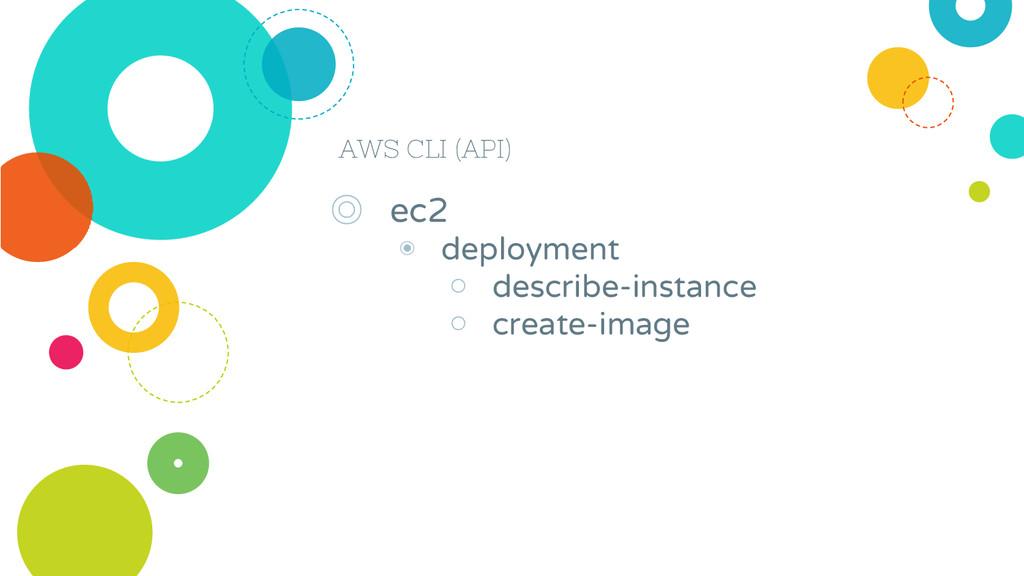 AWS CLI (API) ◎ ec2 ◉ deployment ○ describe-ins...