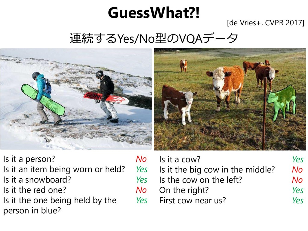 GuessWhat?! 連続するYes/No型のVQAデータ Is it a person? ...