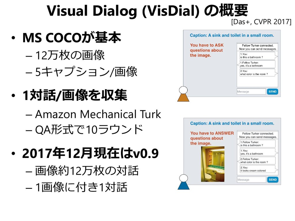Visual Dialog (VisDial) の概要 • MS COCOが基本 – 12万枚...