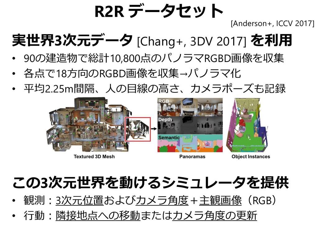 R2R データセット 実世界3次元データ [Chang+, 3DV 2017] を利用 • 9...