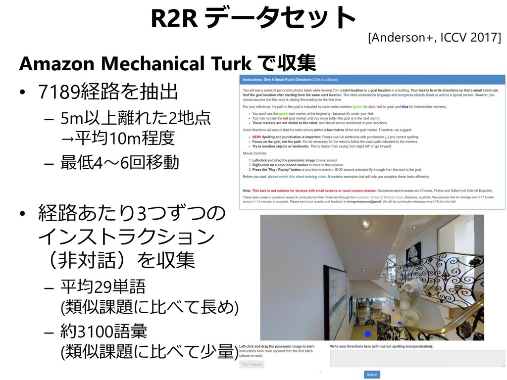 R2R データセット Amazon Mechanical Turk で収集 • 7189経路を...