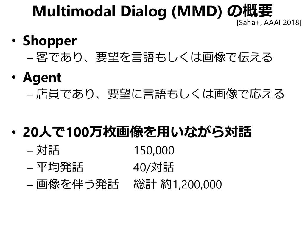 Multimodal Dialog (MMD) の概要 [Saha+, AAAI 2018] ...