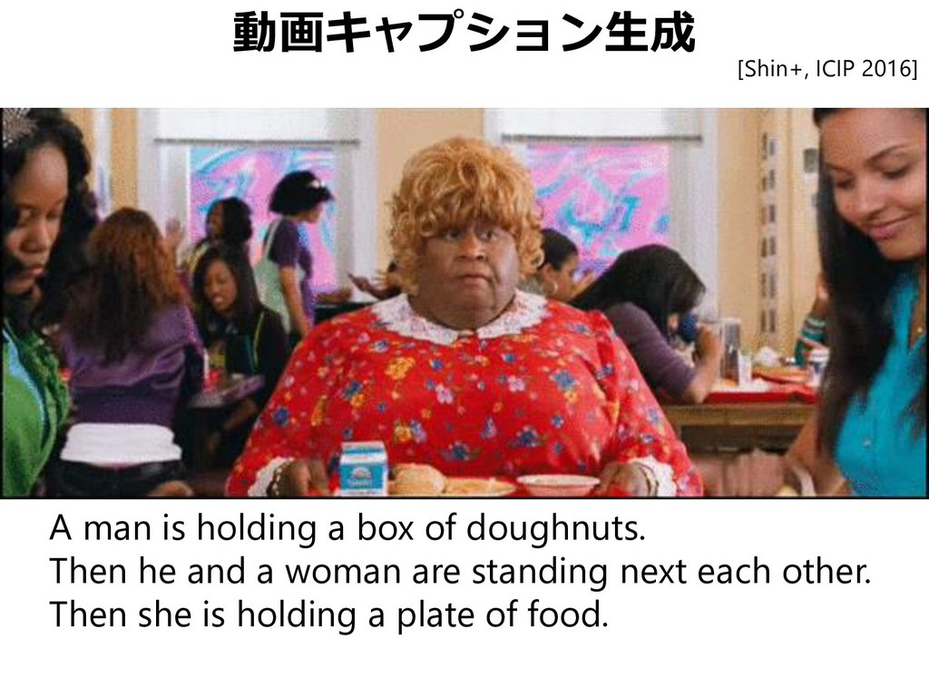 動画キャプション生成 A man is holding a box of doughnuts....