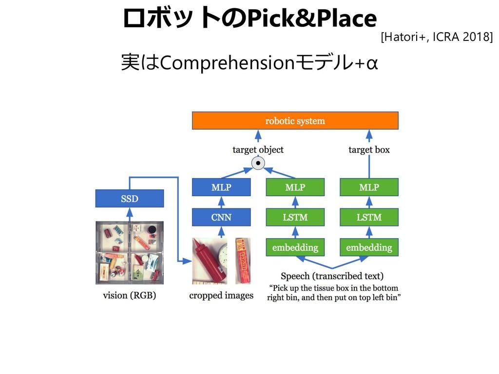 ロボットのPick&Place 実はComprehensionモデル+α [Hatori+, ...