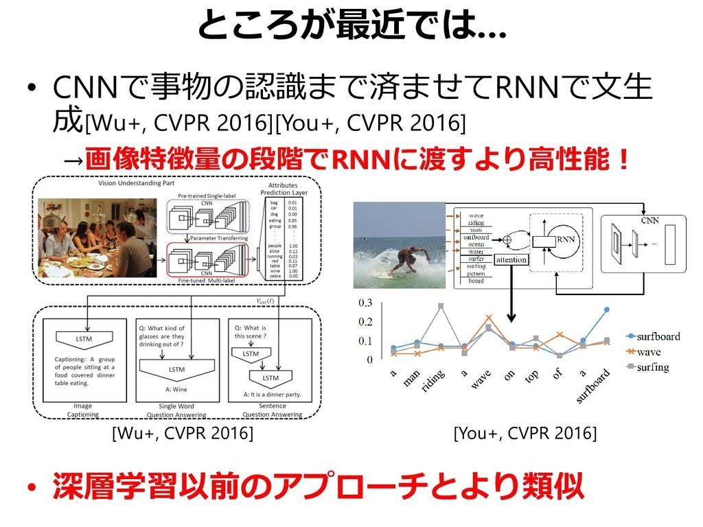 ところが最近では… • CNNで事物の認識まで済ませてRNNで文生 成[Wu+, CVPR 2...
