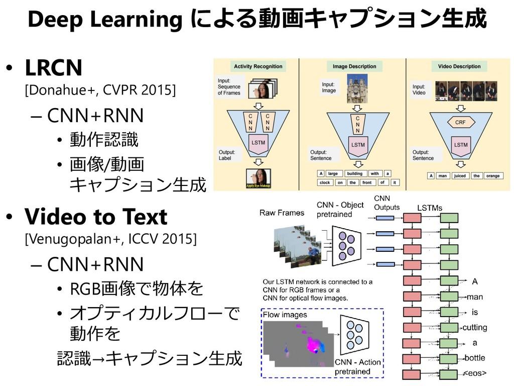 Deep Learning による動画キャプション生成 • LRCN [Donahue+, C...