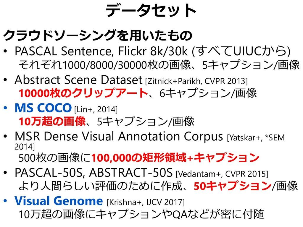 データセット クラウドソーシングを用いたもの • PASCAL Sentence, Flick...