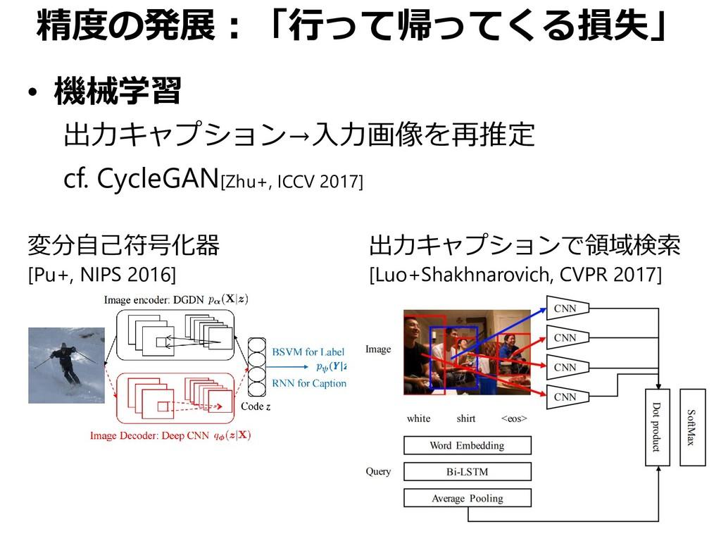 精度の発展:「行って帰ってくる損失」 • 機械学習 出力キャプション→入力画像を再推定 cf....