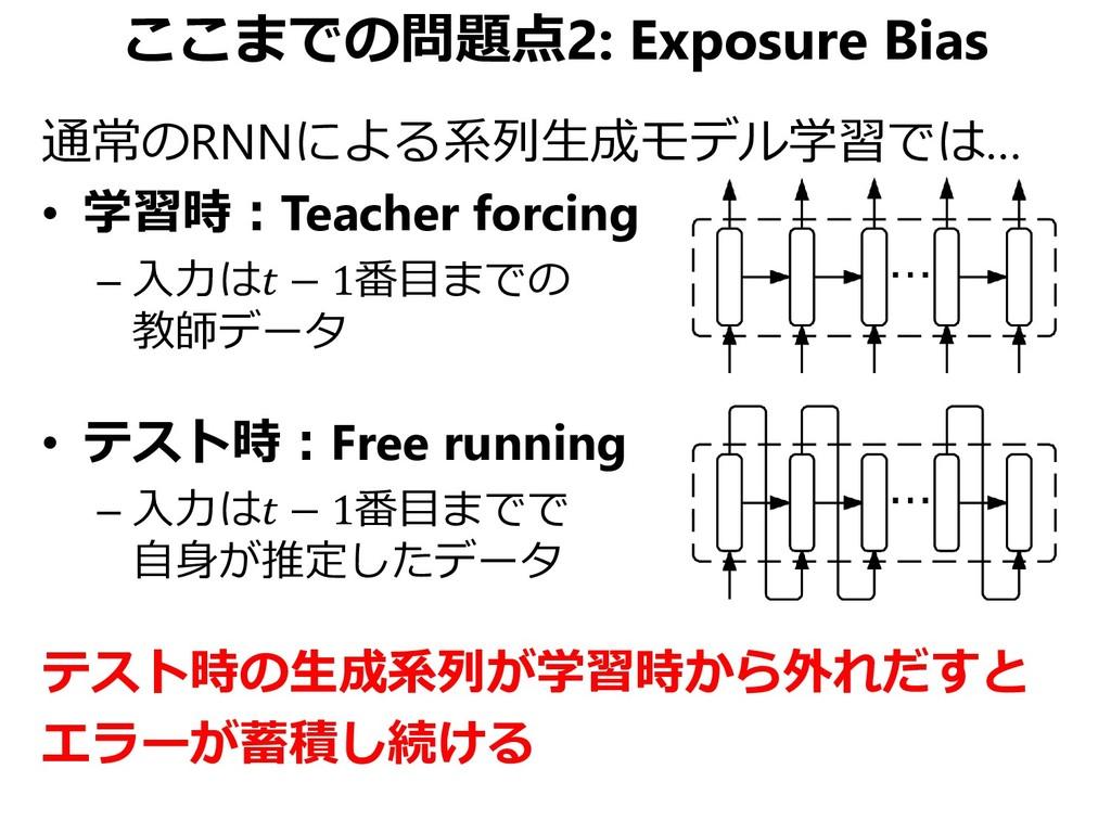 ここまでの問題点2: Exposure Bias 通常のRNNによる系列生成モデル学習では… ...