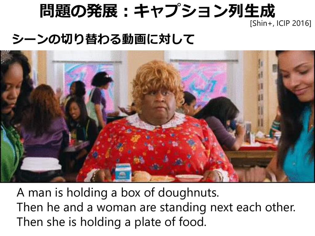 問題の発展:キャプション列生成 A man is holding a box of dough...