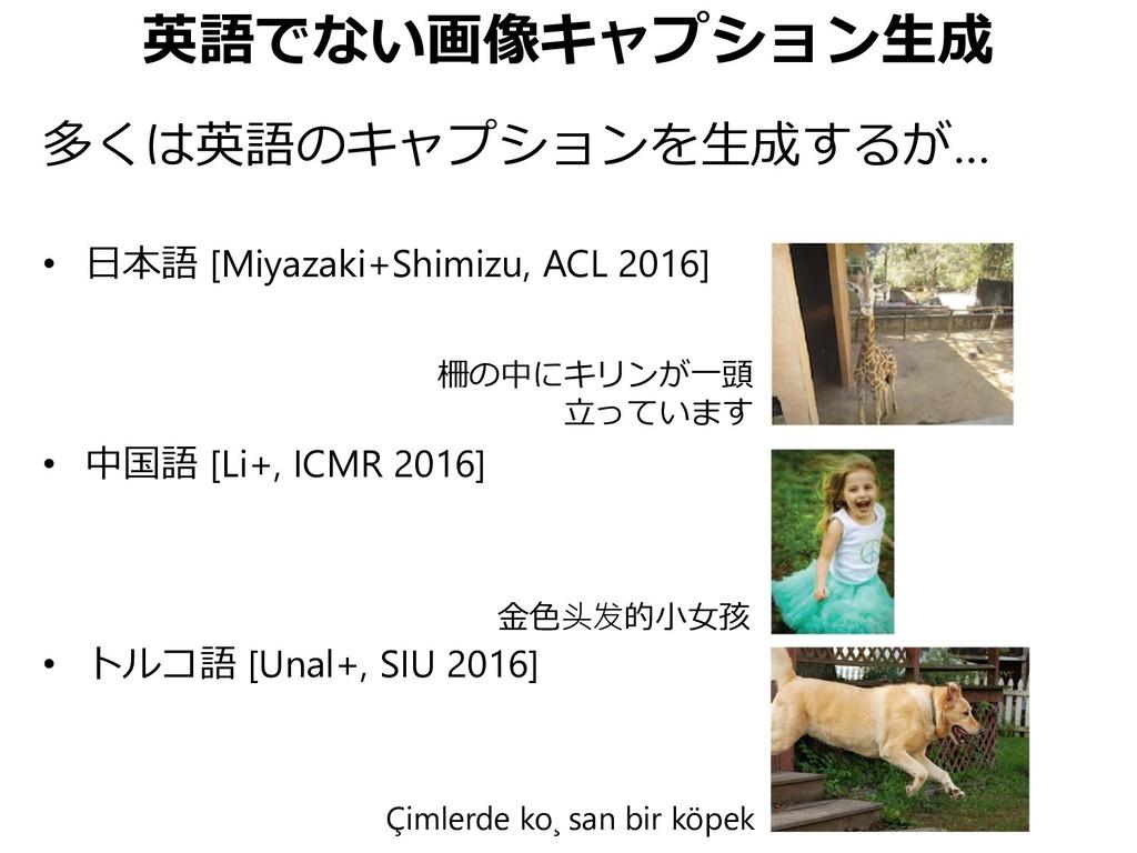 英語でない画像キャプション生成 多くは英語のキャプションを生成するが… • 日本語 [Miya...