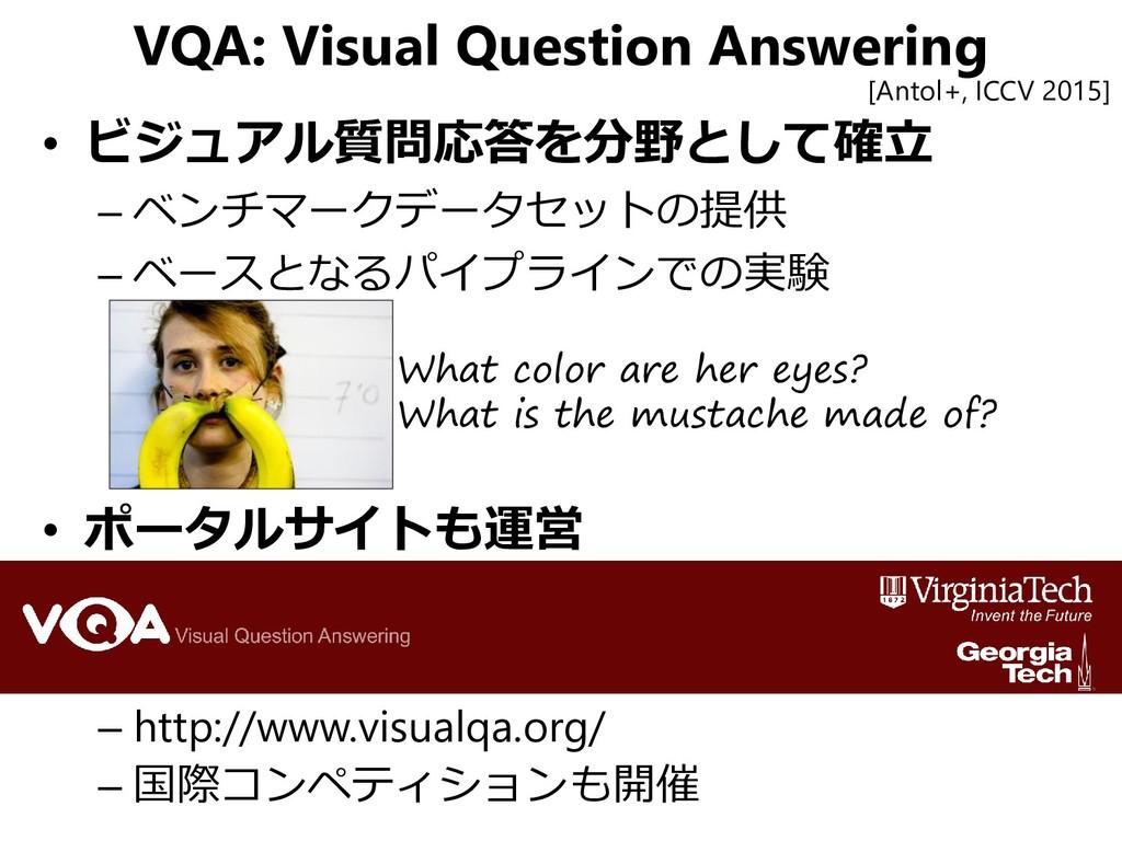 VQA: Visual Question Answering • ビジュアル質問応答を分野とし...
