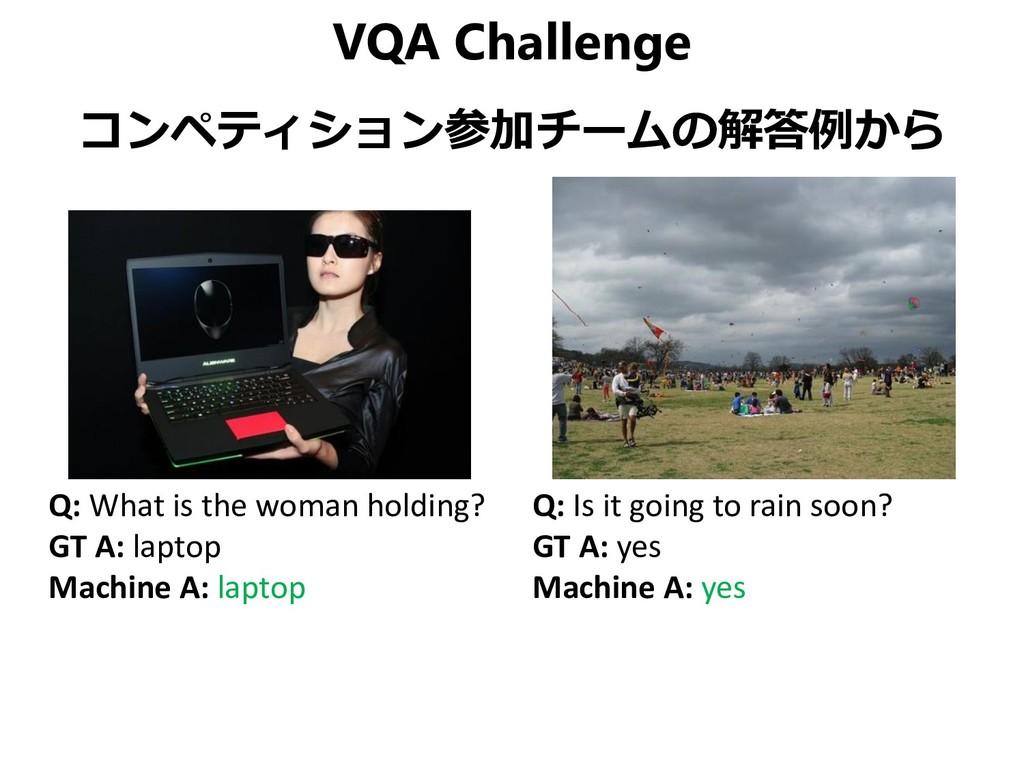 VQA Challenge コンペティション参加チームの解答例から Q: What is th...