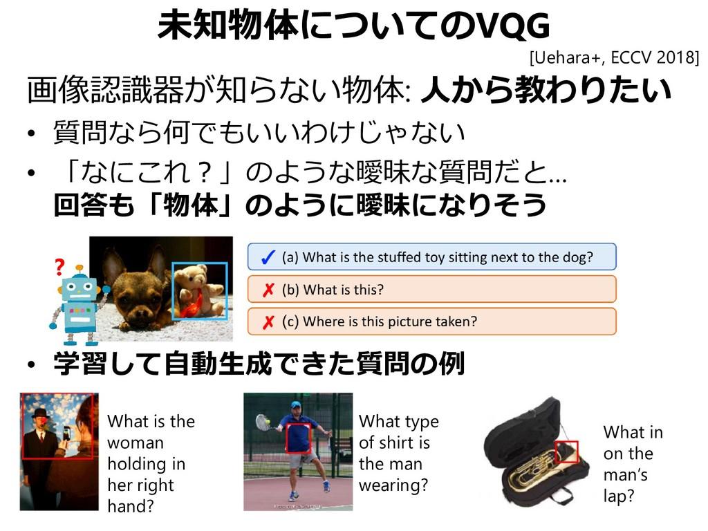 未知物体についてのVQG 画像認識器が知らない物体: 人から教わりたい • 質問なら何でもいい...