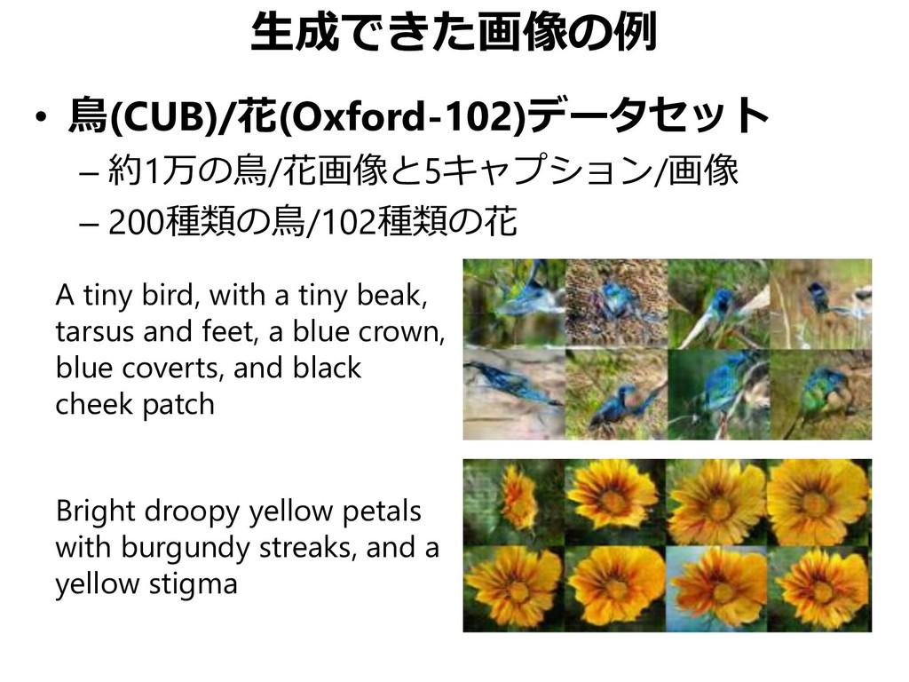 生成できた画像の例 • 鳥(CUB)/花(Oxford-102)データセット – 約1万の鳥/...