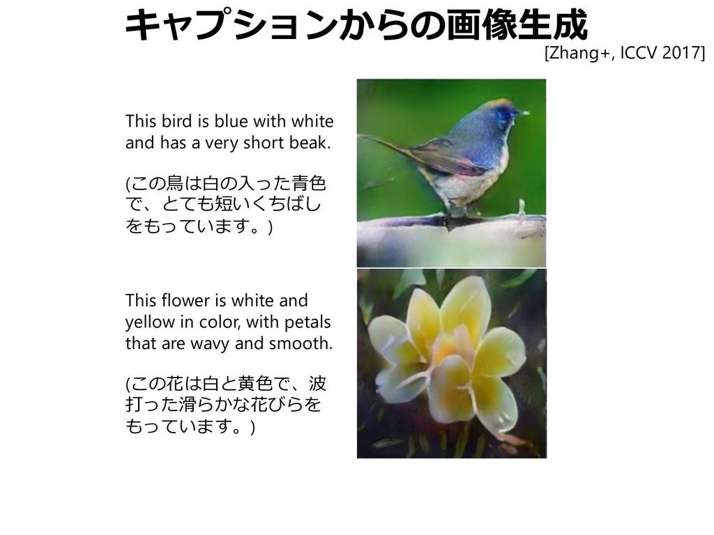 キャプションからの画像生成 This bird is blue with white and ...
