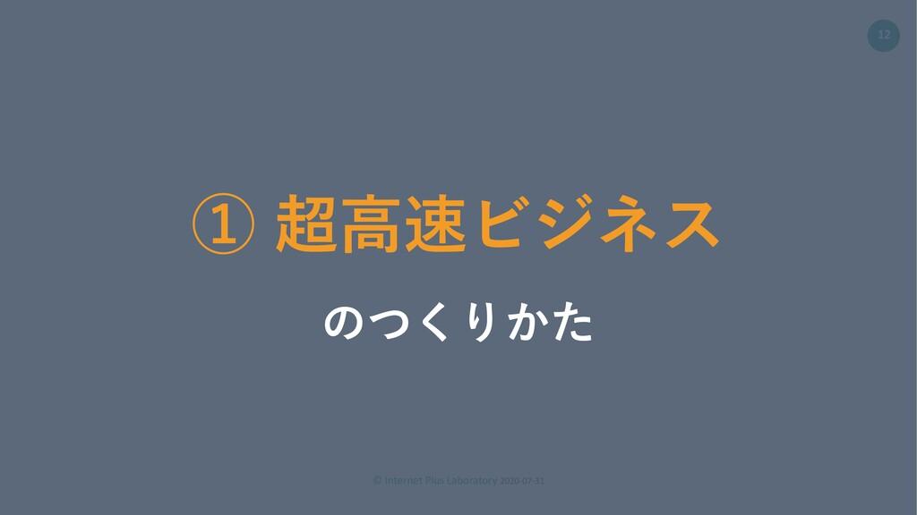 © Internet Plus Laboratory 2020-07-31 12 ① 超⾼速ビ...