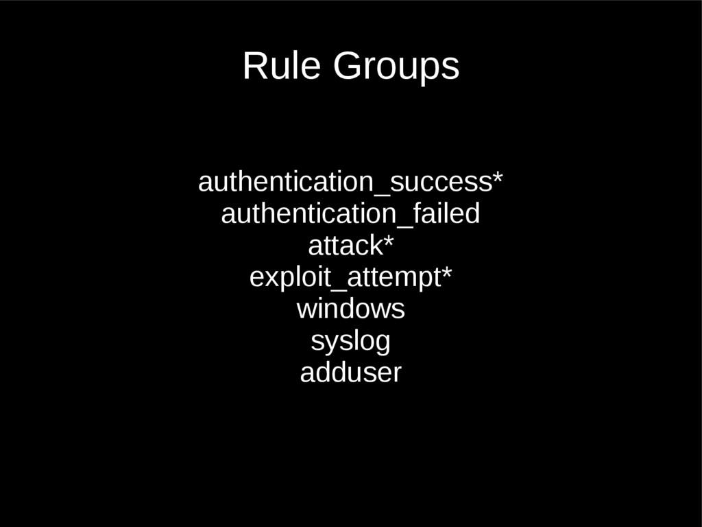 Rule Groups authentication_success* authenticat...