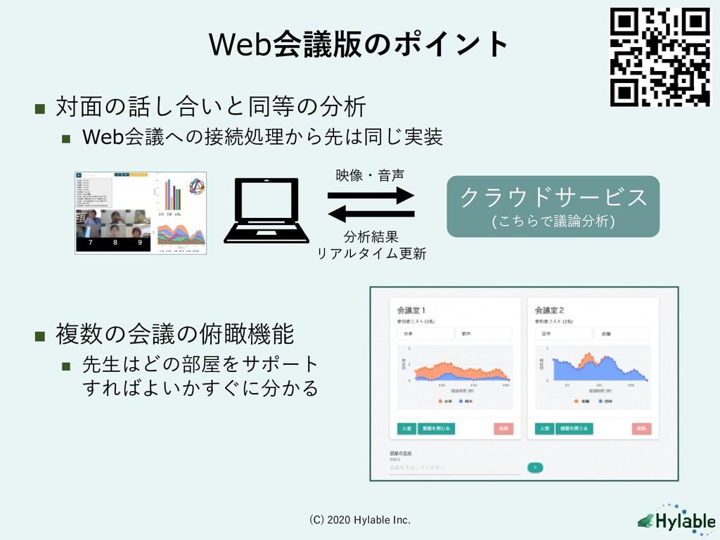 Web会議版のポイント ◼ 対面の話し合いと同等の分析 ◼ Web会議への接続処理から先は同じ...