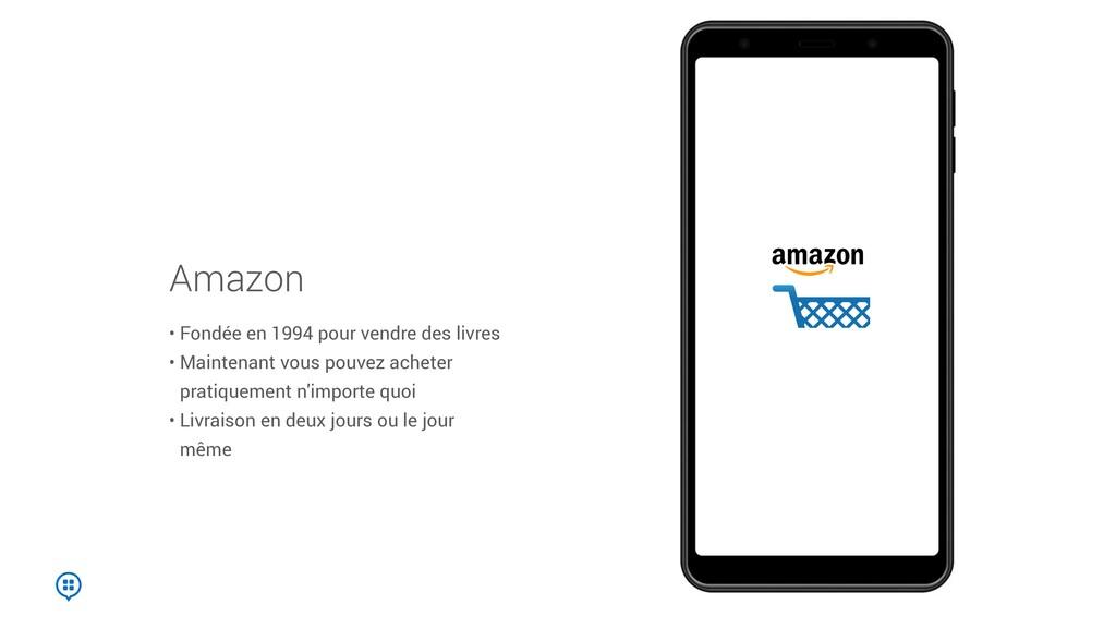 Amazon • Fondée en 1994 pour vendre des livres ...
