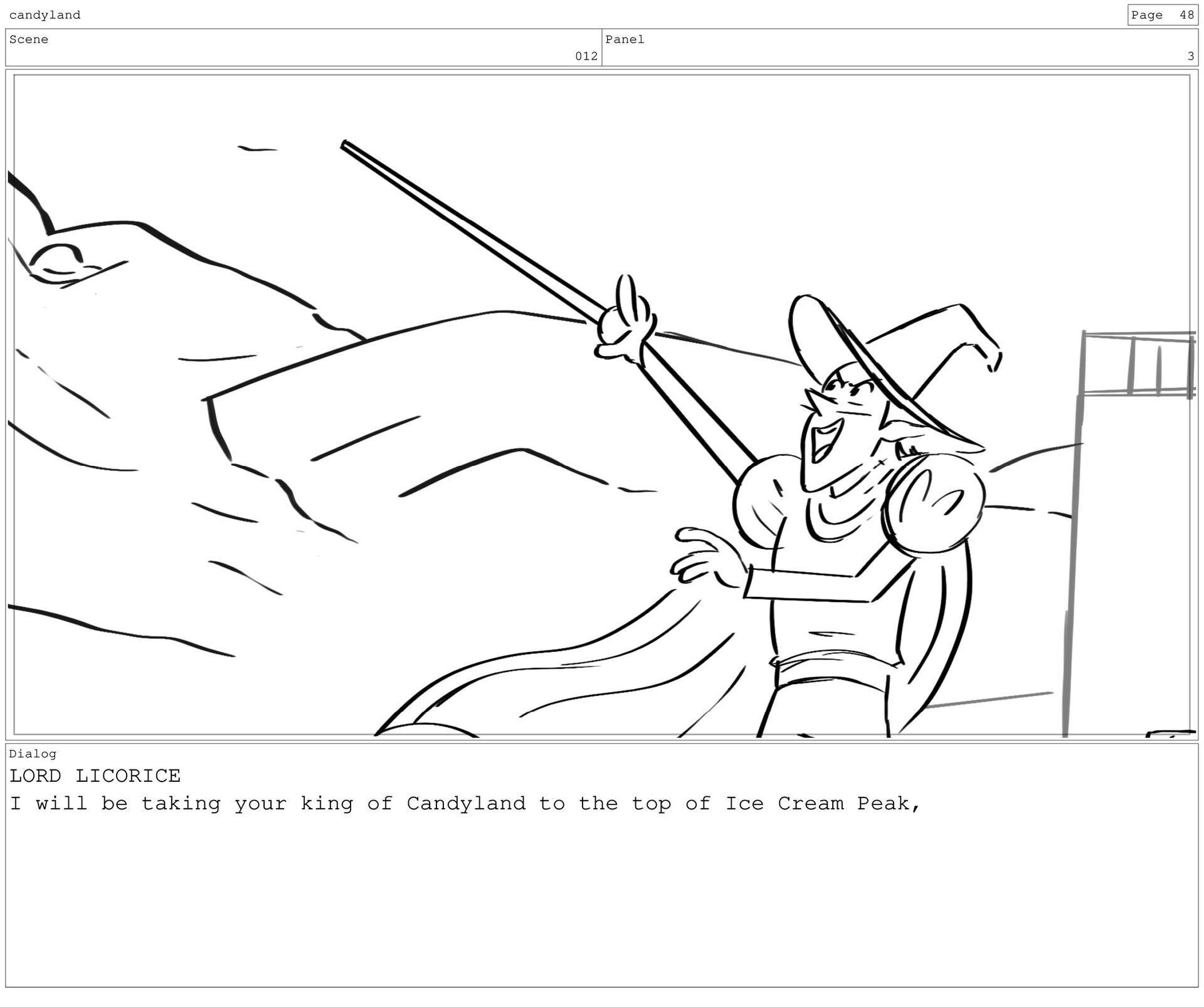 Scene 15 Panel 1 Dialog LORD LICORICE ... candy...