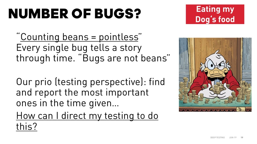 "NUMBER OF BUGS? JUN-19 DEEP TESTING 19 ""Countin..."