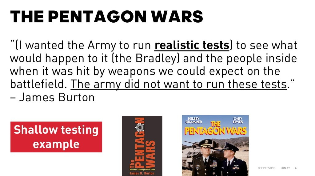 "THE PENTAGON WARS JUN-19 DEEP TESTING 6 ""(I wan..."