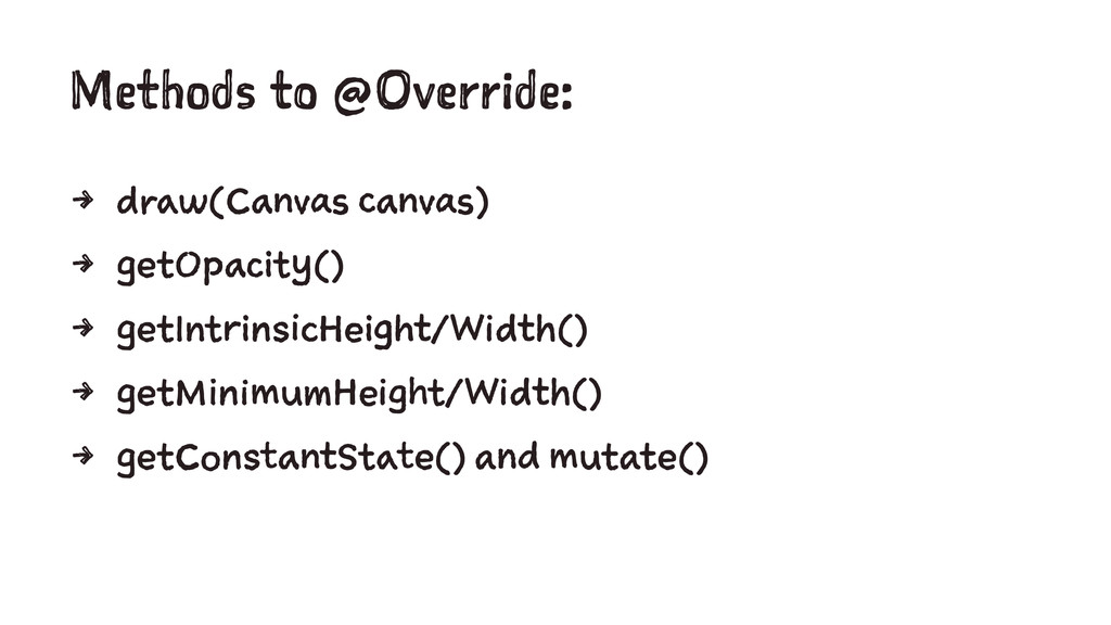 Methods to @Override: 4 draw(Canvas canvas) 4 g...